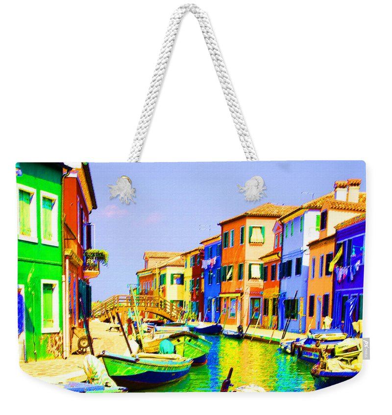 Burano Weekender Tote Bag featuring the pastel Wooden Bridge To Despar by Donna Corless
