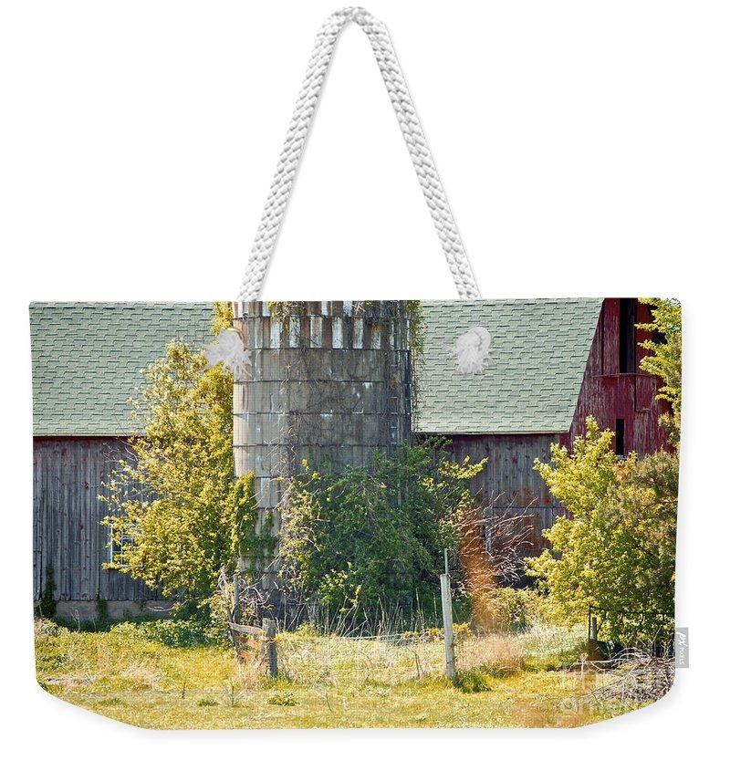 Silo Weekender Tote Bag featuring the photograph Wooden Silo by Faith Harron Boudreau