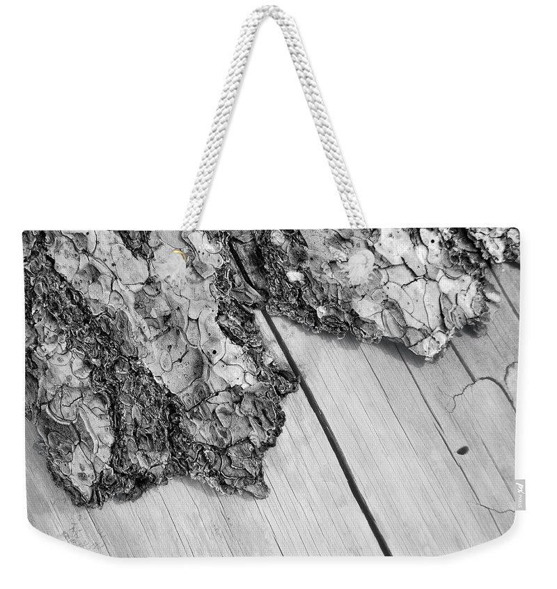 Wood Weekender Tote Bag featuring the photograph Wooden Wave by Donna Blackhall