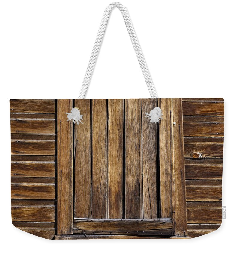 Wood Texture Weekender Tote Bag featuring the photograph Wooden Window by Kelley King