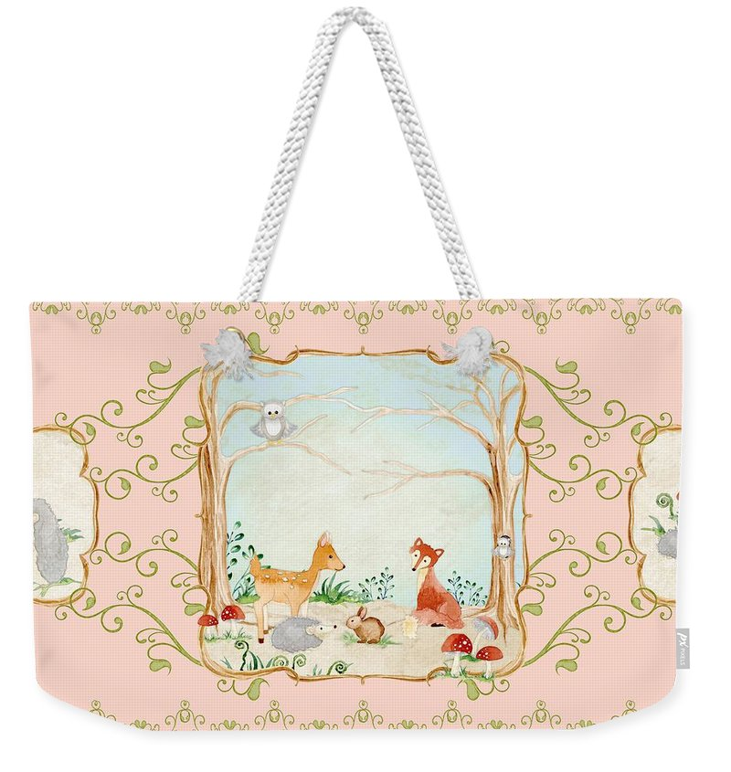 Wood Weekender Tote Bag featuring the painting Woodland Fairy Tale - Blush Pink Forest Gathering Of Woodland Animals by Audrey Jeanne Roberts
