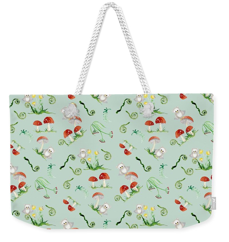 Red Mushrooms Weekender Tote Bag featuring the painting Woodland Fairy Tale - Red Mushrooms N Owls by Audrey Jeanne Roberts