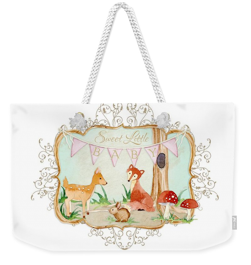 Banner Weekender Tote Bag featuring the painting Woodland Fairytale - Banner Sweet Little Baby by Audrey Jeanne Roberts