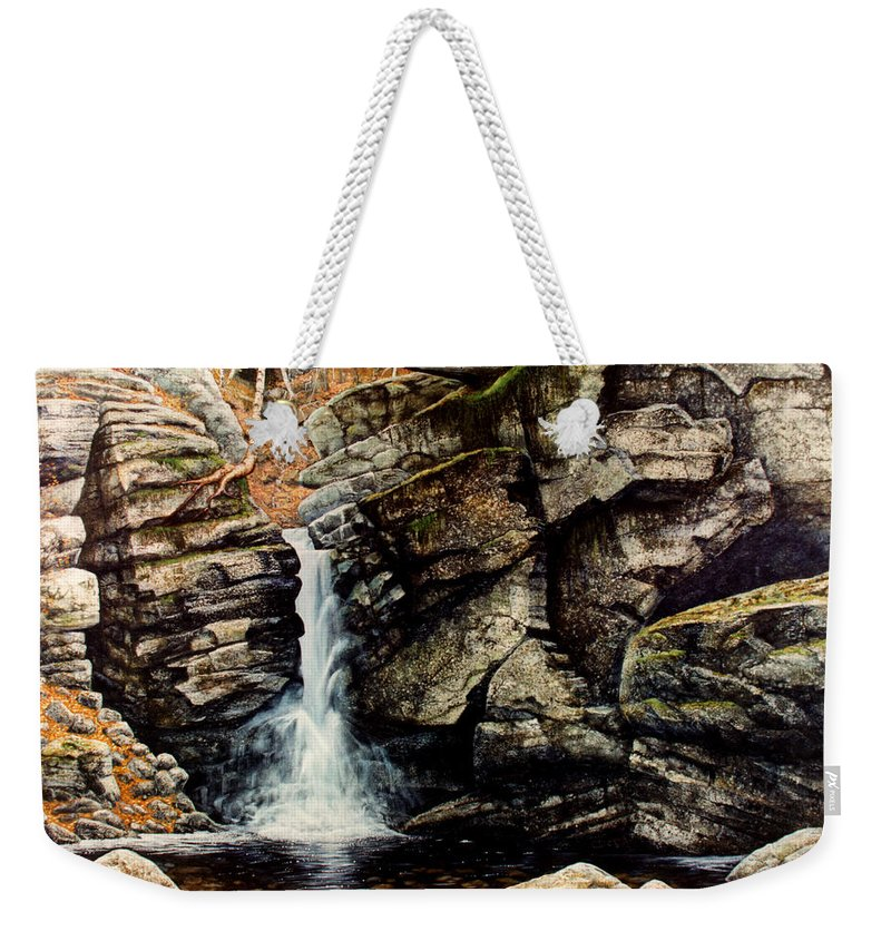 Waterfall Weekender Tote Bag featuring the painting Woodland Falls by Frank Wilson