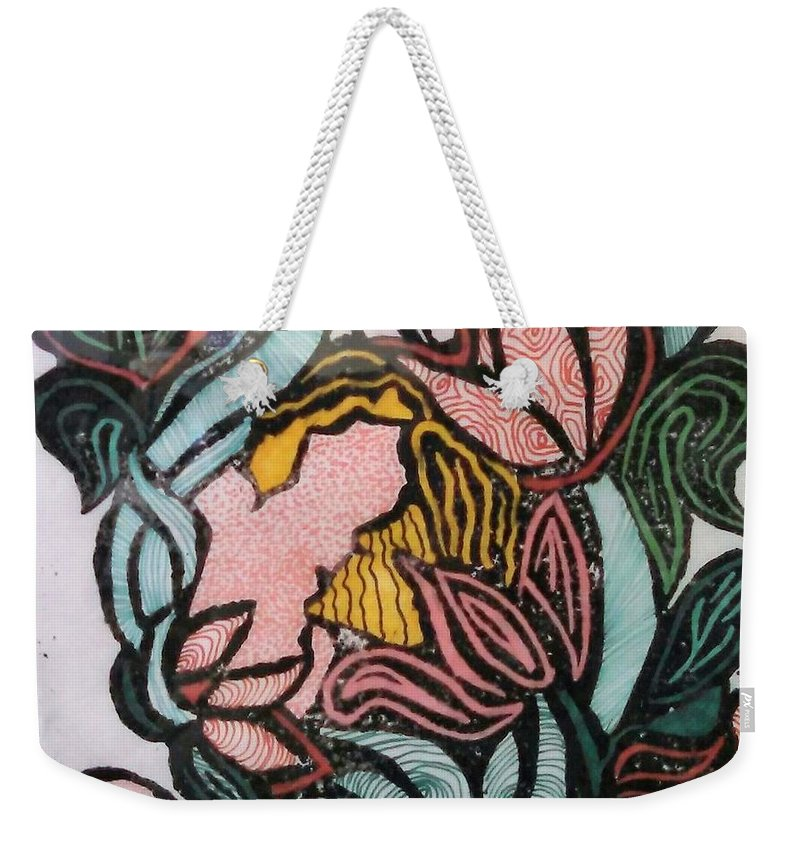 Flower Weekender Tote Bag featuring the drawing Woodland Nymph 1 by Anne Robinson