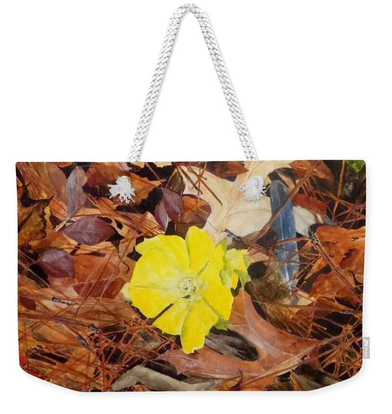 Woods Weekender Tote Bag featuring the painting Woodland Surprise by Jean Blackmer