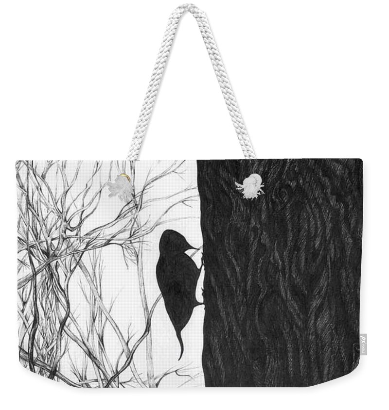 Pen And Ink Weekender Tote Bag featuring the drawing Woodpecker by Anna Duyunova