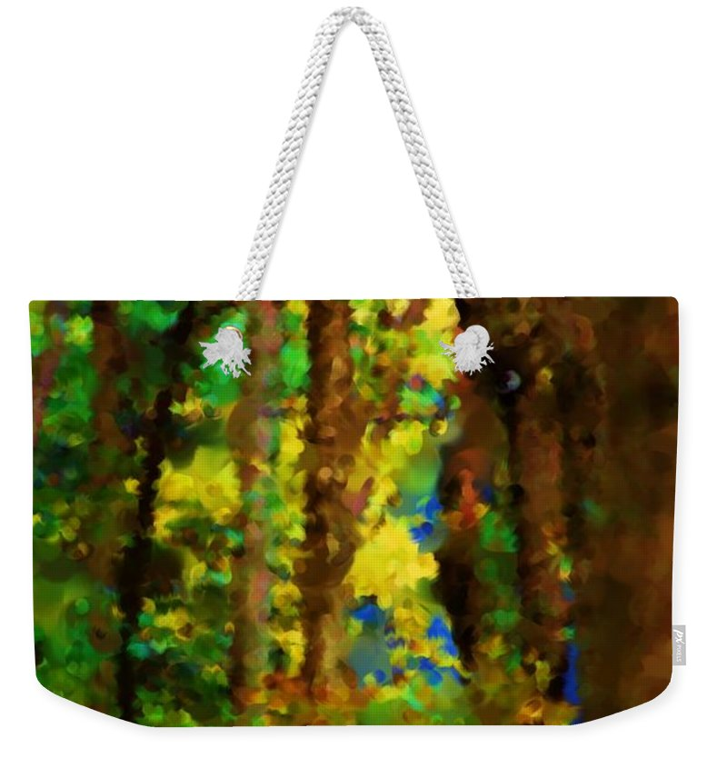Digital Photograph Weekender Tote Bag featuring the photograph Woods Approach To Lake by David Lane