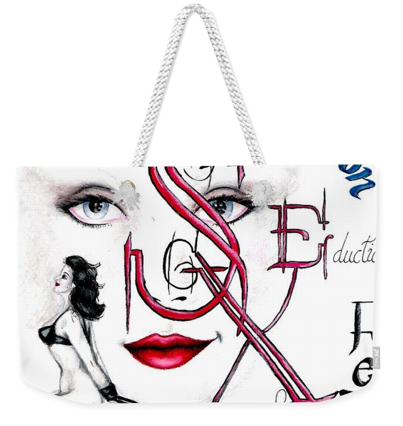 Erotic Weekender Tote Bag featuring the drawing Words of the Dirty Mind by Scarlett Royal