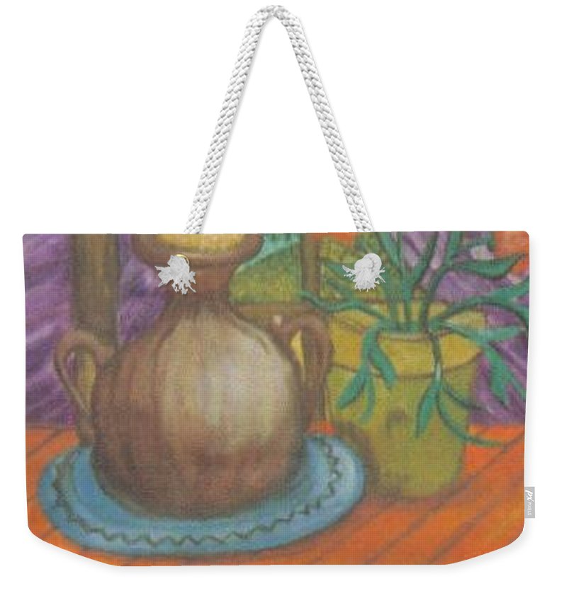 Still Life Weekender Tote Bag featuring the painting Work by Andrew Johnson