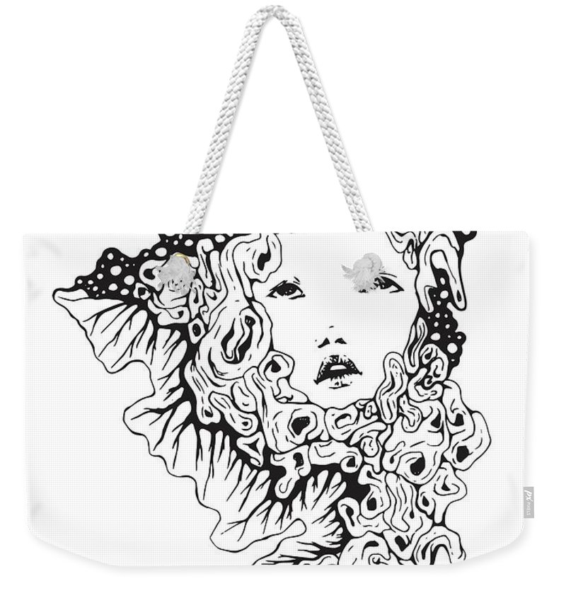 Black And White Weekender Tote Bag featuring the drawing Work It Out by Lauren Schwind