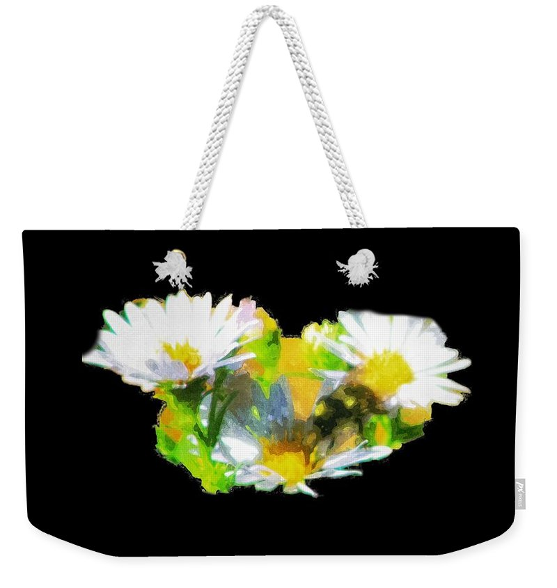 Daises Weekender Tote Bag featuring the painting Work Of A Bee by Image Takers Photography LLC - Carol Haddon