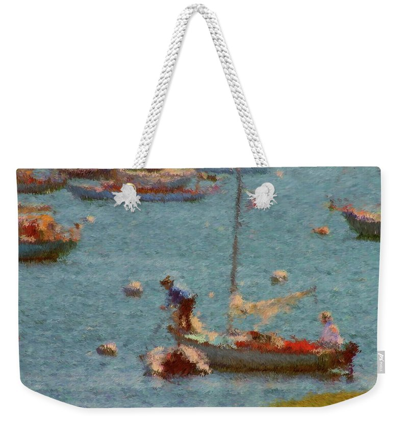 Sail Boats Weekender Tote Bag featuring the painting Work These Sails Honey Boothbay Harbor Maine by Viktor Arsenov