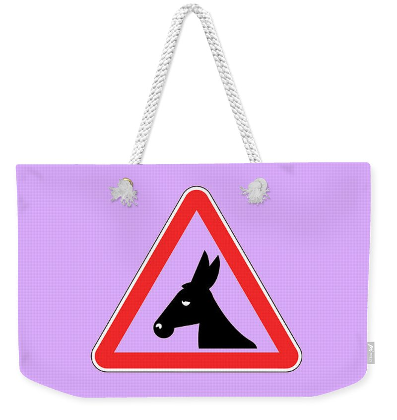 Funny Weekender Tote Bag featuring the digital art Working Bigstock Donkey 171252860 by Mitchell Watrous