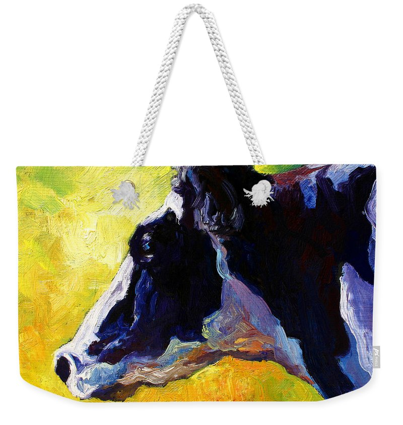 Western Weekender Tote Bag featuring the painting Working Girl - Holstein Cow by Marion Rose