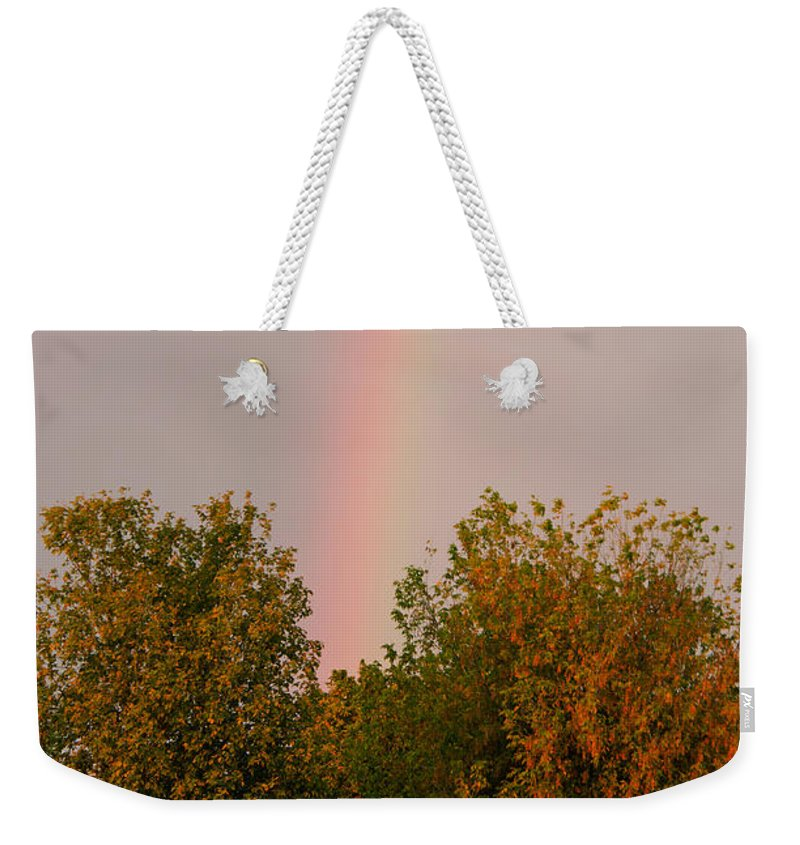 Farm Life Weekender Tote Bag featuring the photograph Working Rainbow by La Rae Roberts