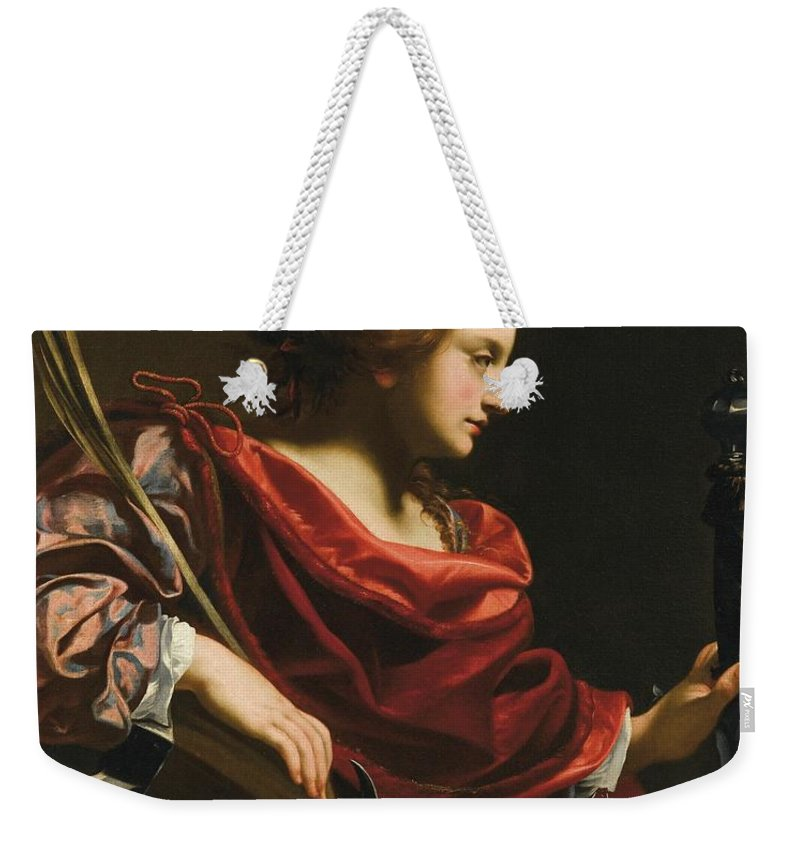 Workshop Of Simon Vouet Saint Catherine Of Alexandria Weekender Tote Bag featuring the painting Workshop Of Simon Vouet by MotionAge Designs