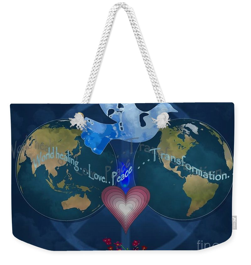 World Weekender Tote Bag featuring the photograph World Healing Inspirational by Bobbee Rickard