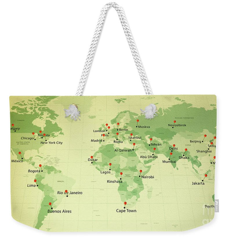 World map countries cities straight pin vintage weekender tote bag cartography weekender tote bag featuring the digital art world map countries cities straight pin vintage by gumiabroncs