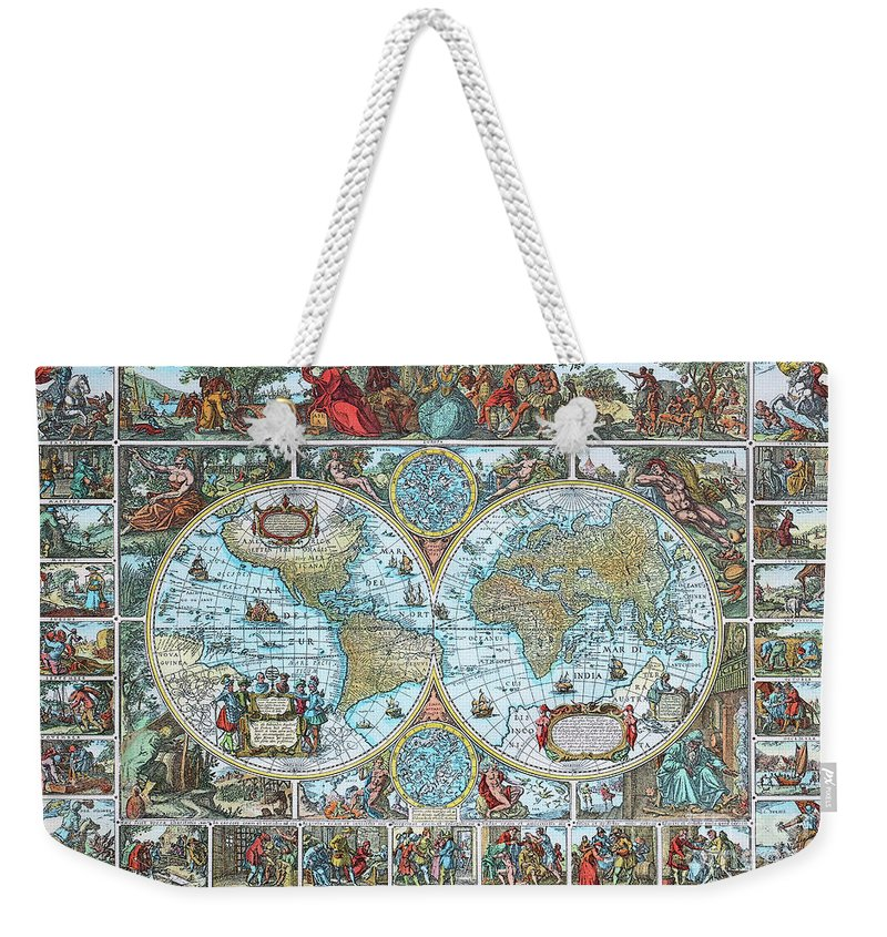 Photo Weekender Tote Bag featuring the photograph World Map by Jutta Maria Pusl