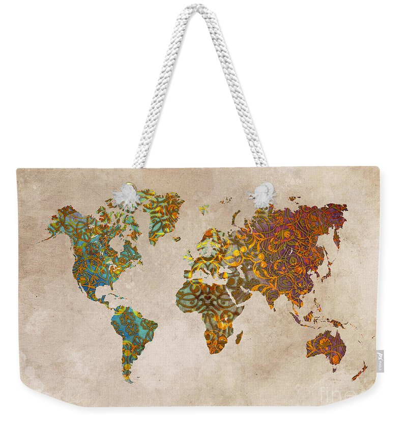 Map Of The World Weekender Tote Bag featuring the digital art World Map Oriental by Justyna JBJart