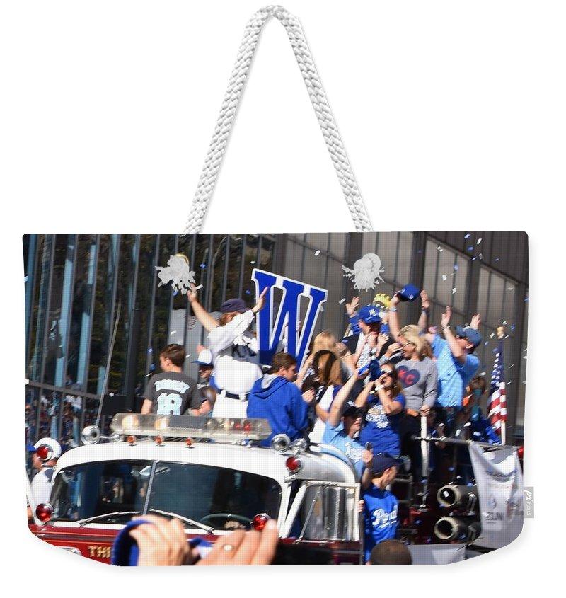 Baseball Weekender Tote Bag featuring the photograph World Series Champions 2015 by Linda Benoit