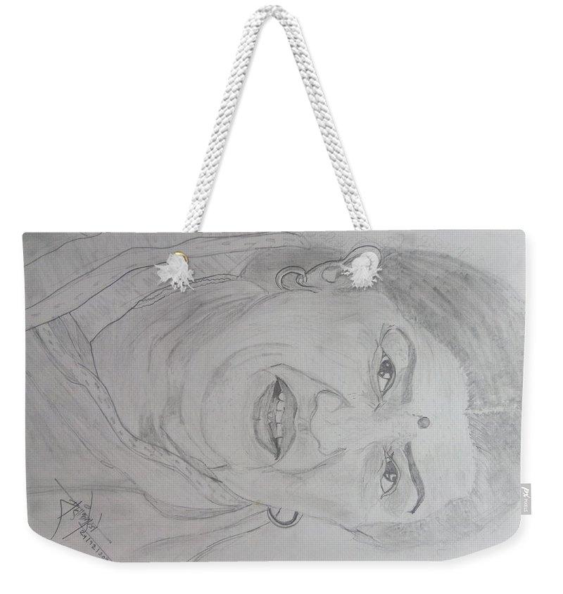 Lata Mangeshkar Weekender Tote Bag featuring the drawing Worlds Best Singer Lata Mangeshkar by Shashank Morje