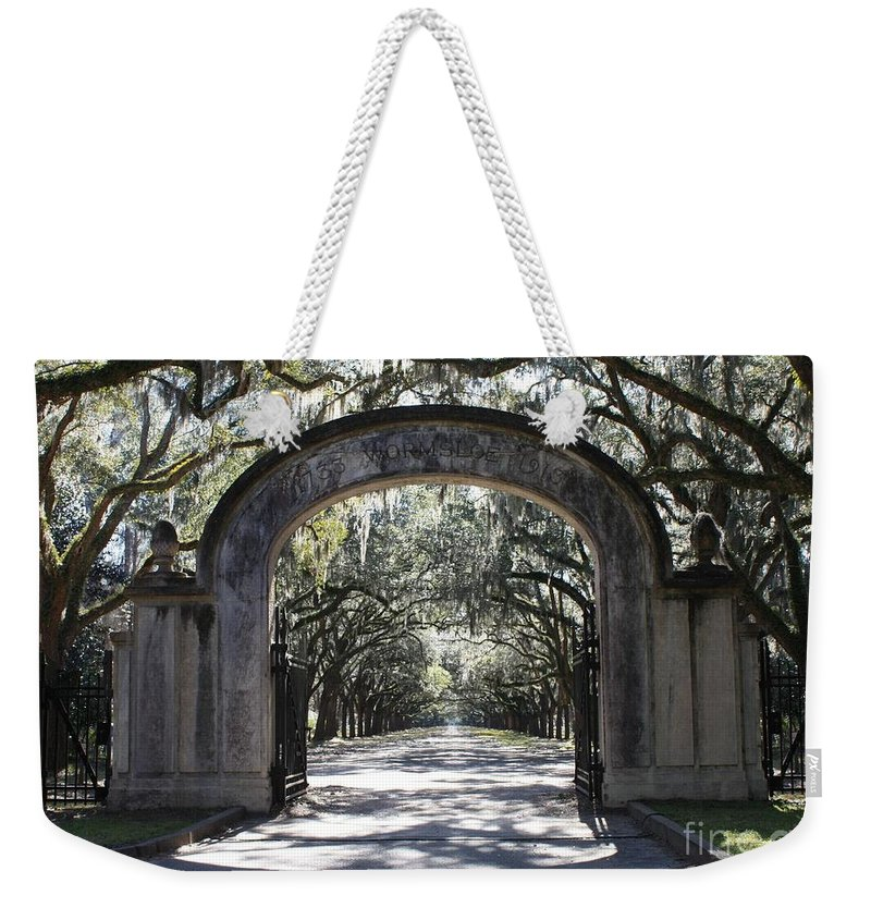 Gate Weekender Tote Bag featuring the photograph Wormsloe Plantation Gate by Carol Groenen