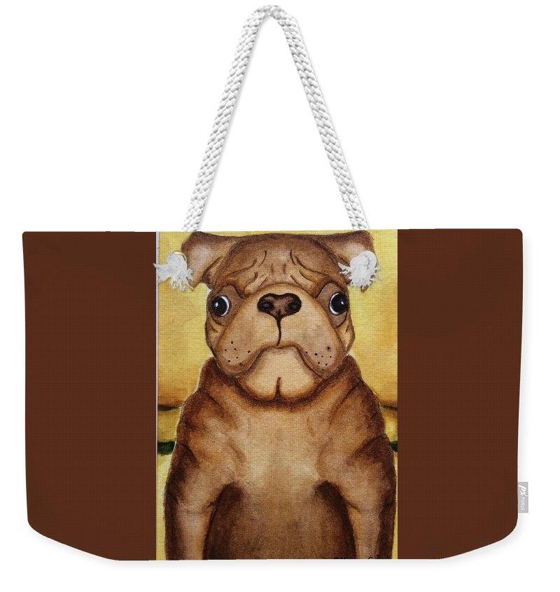 Dog Weekender Tote Bag featuring the painting Worried by Colleen Giorgi