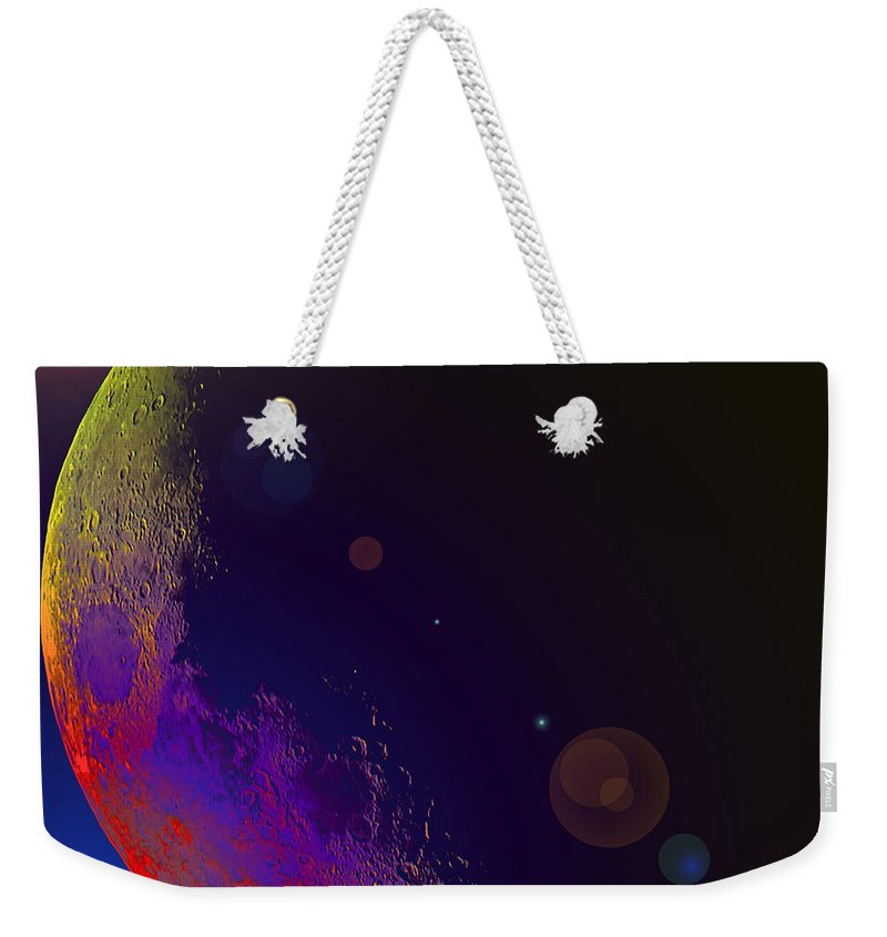 Moon Stars Planet Universe Sky Skies Lunar Outterspace Beauty Weekender Tote Bag featuring the photograph Worshiped Moon by Andrea Lawrence