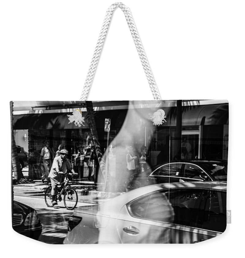 Florida Weekender Tote Bag featuring the photograph Worth Ave Reflections 0484 by Bob Neiman