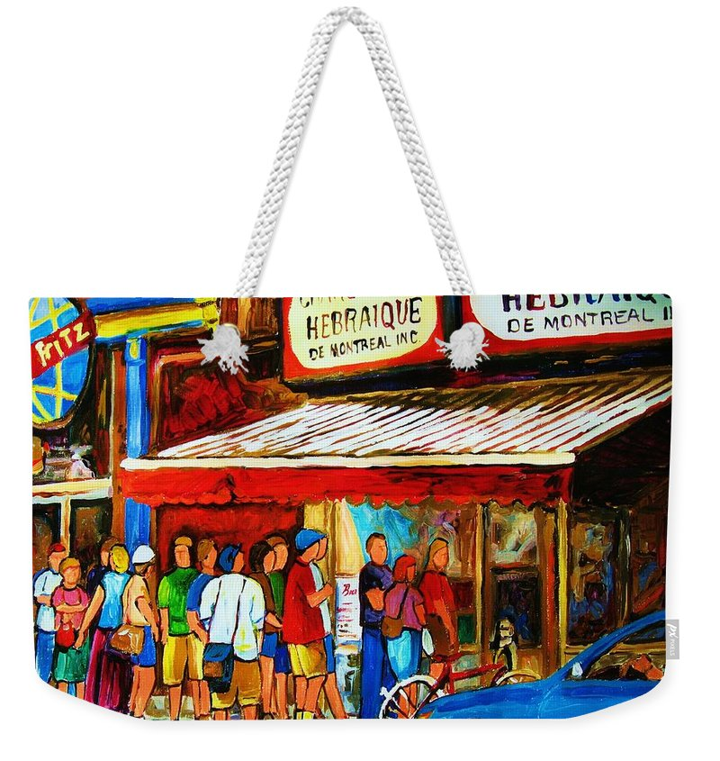 Montreal Streetscenes Weekender Tote Bag featuring the painting Worth The Wait by Carole Spandau