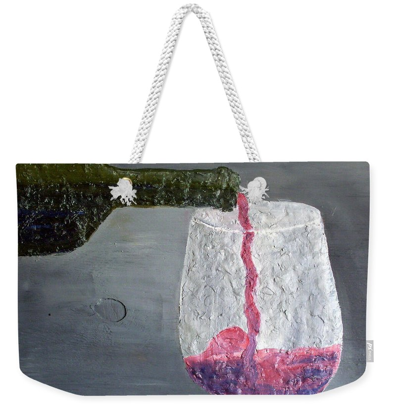 Still Life Paintings Weekender Tote Bag featuring the painting Would You Like A Glass Or Would You Mine If I by Leslye Miller