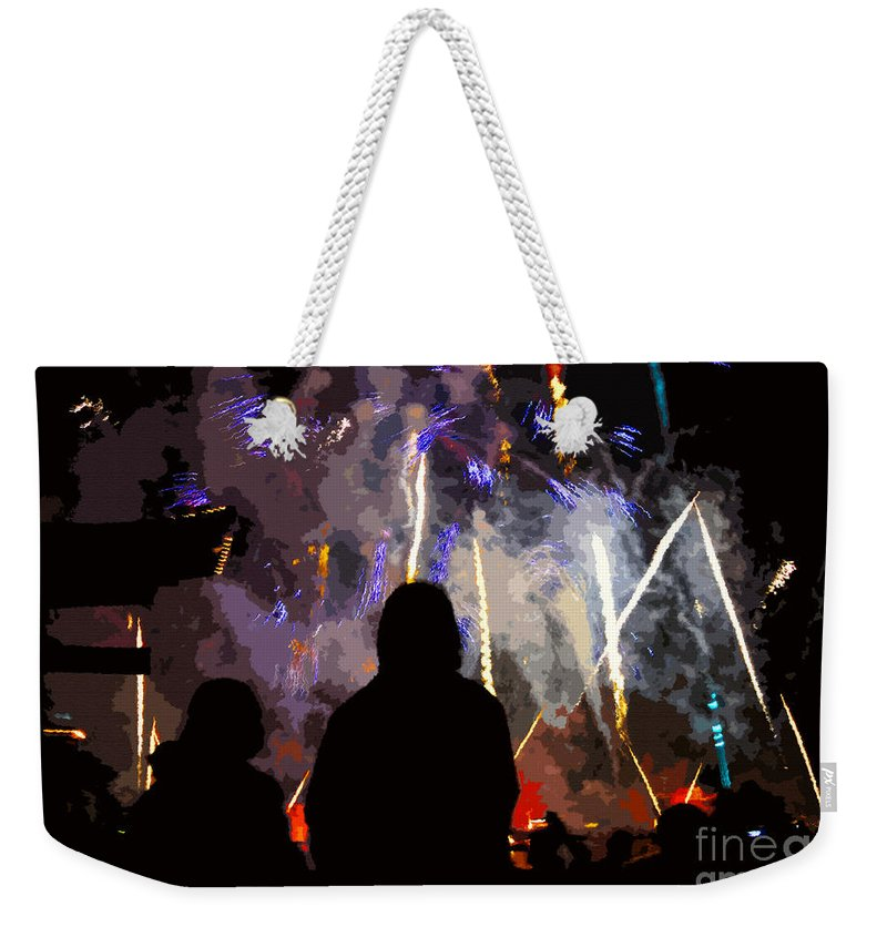 Fireworks Weekender Tote Bag featuring the painting WOW by David Lee Thompson