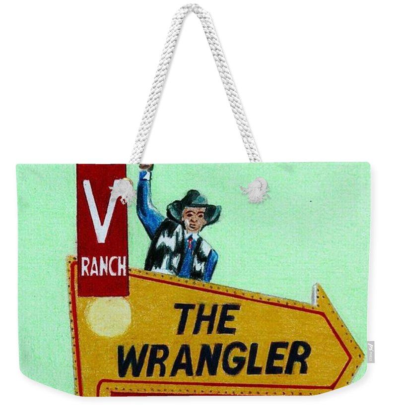 Vintage Weekender Tote Bag featuring the drawing Wrangler Motel by Glenda Zuckerman