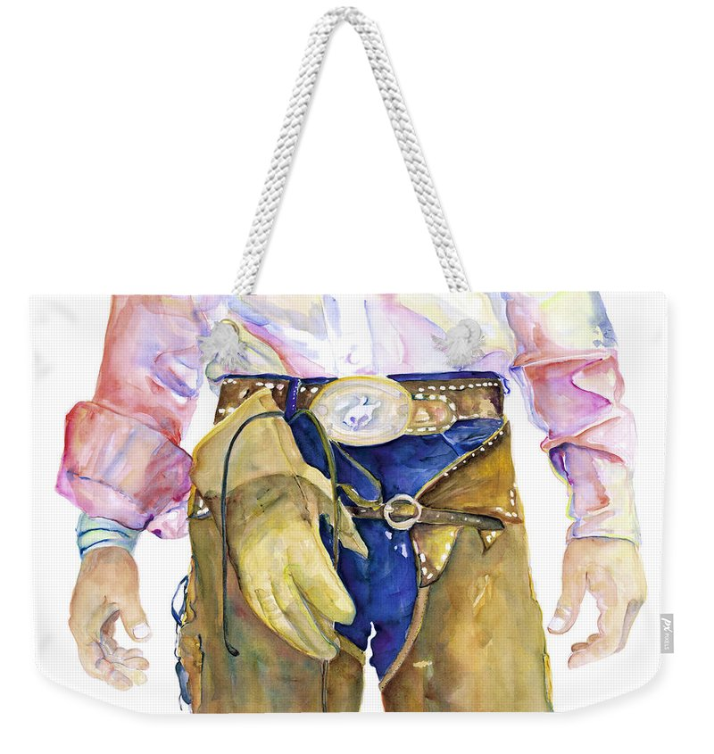Cowboy Painting Weekender Tote Bag featuring the painting Wrangler by Pat Saunders-White