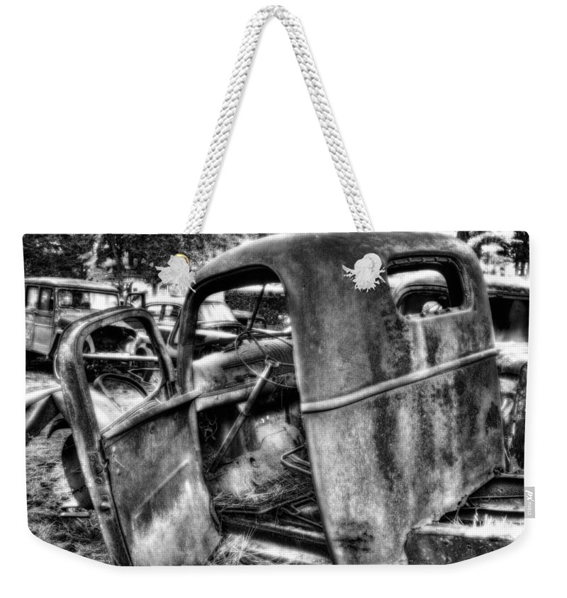 Weekender Tote Bag featuring the photograph Wrecking Yard Study 11 by Lee Santa