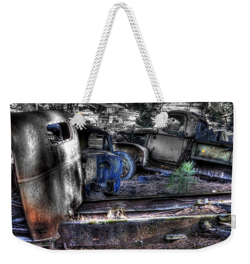 Automotive Weekender Tote Bag featuring the photograph Wrecking Yard Study 12 by Lee Santa