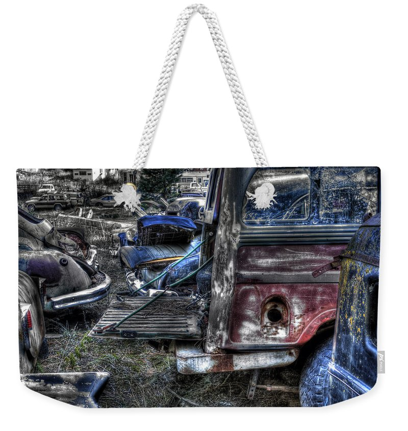 Automotive Weekender Tote Bag featuring the photograph Wrecking Yard Study 13 by Lee Santa