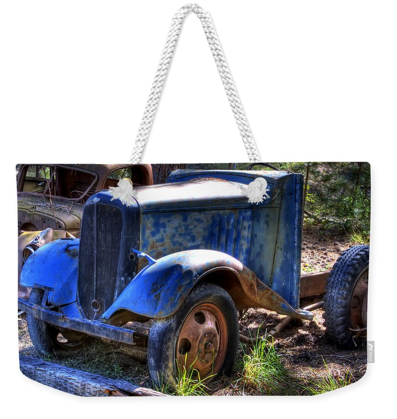 Automotive Weekender Tote Bag featuring the photograph Wrecking Yard Study 15 by Lee Santa