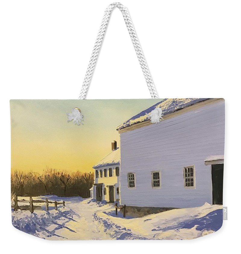 Farm Weekender Tote Bag featuring the painting Wright-locke Farm And Squash House by Lynn Ricci