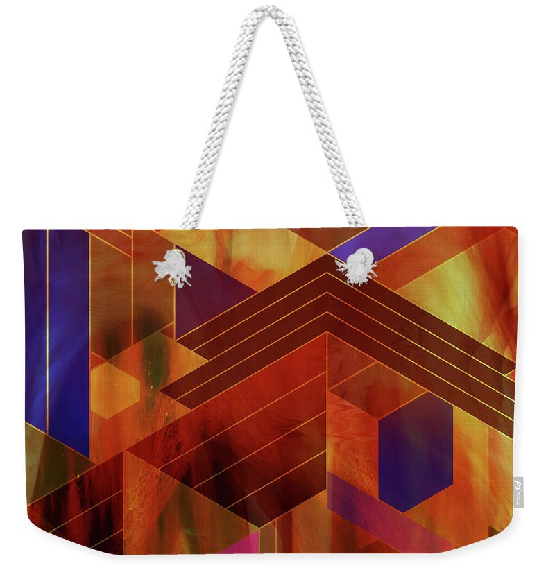 Frank Lloyd Wright Weekender Tote Bag featuring the digital art Wrightian Reflections - Square Version by John Robert Beck