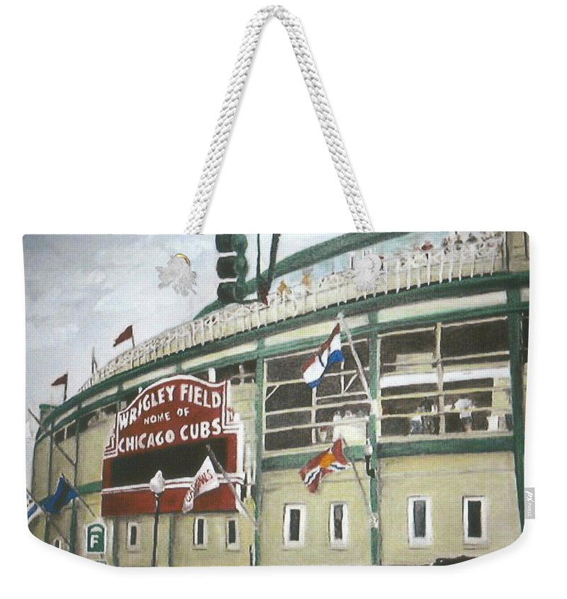 Wrigley Field Weekender Tote Bag featuring the painting Wrigley Field by Travis Day