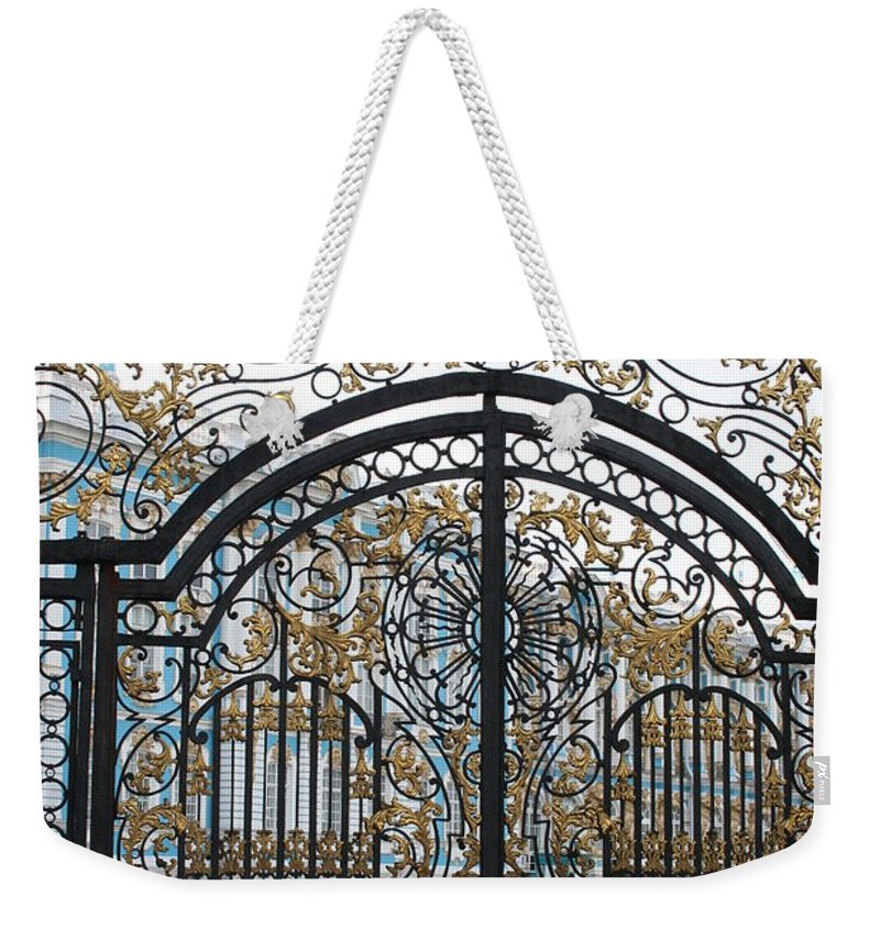 Gate Weekender Tote Bag featuring the photograph Wrought Iron Gate by Christiane Schulze Art And Photography