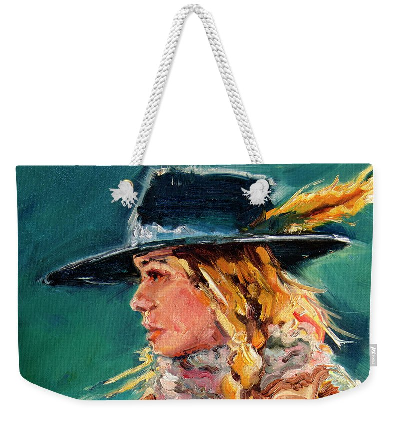 Cowgirl Weekender Tote Bag featuring the painting Wyoming Cowgirl Close by Diane Whitehead