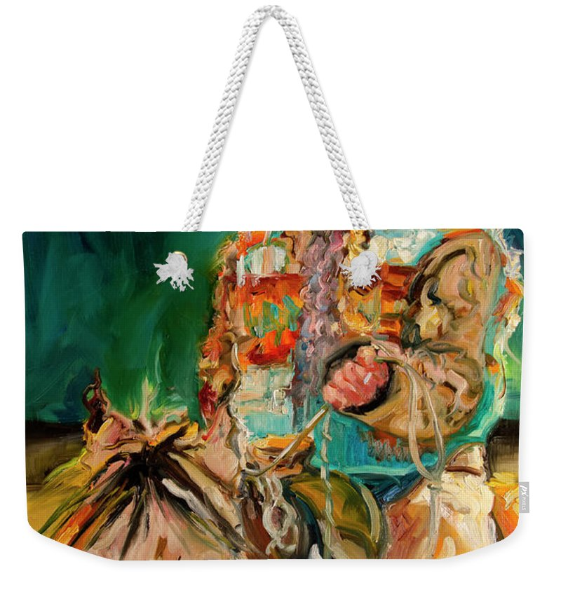 Cowgirl Diane Whitehead Weekender Tote Bag featuring the painting Wyoming Cowgirl by Diane Whitehead