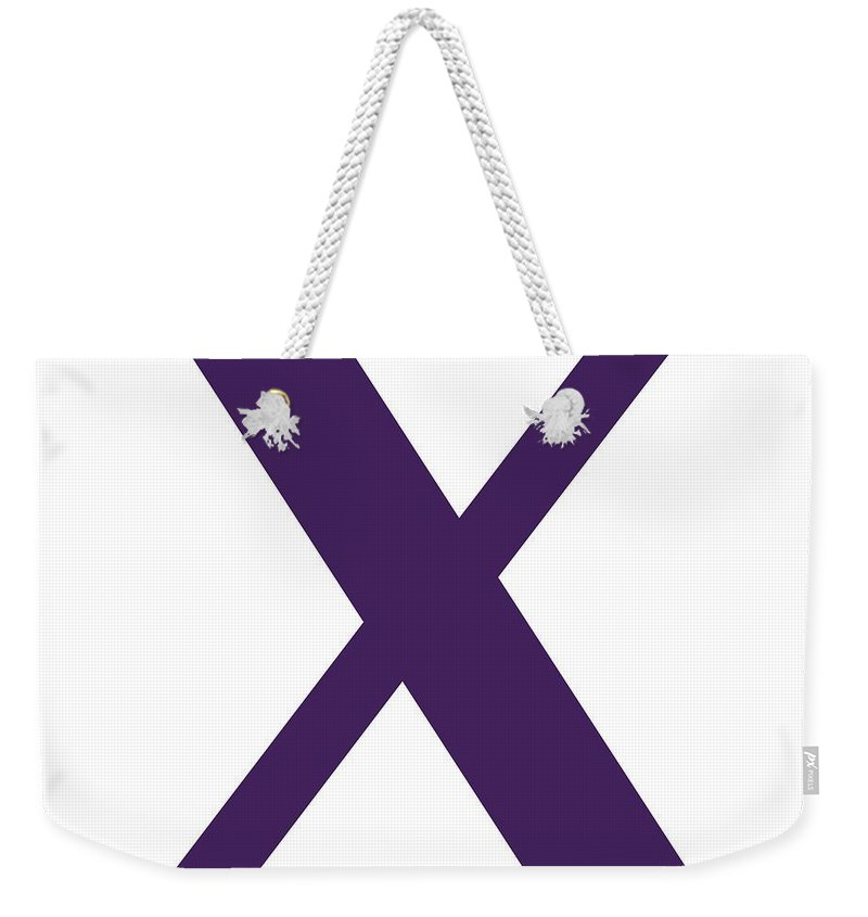 X Weekender Tote Bag featuring the digital art X In Purple Typewriter Style by Custom Home Fashions