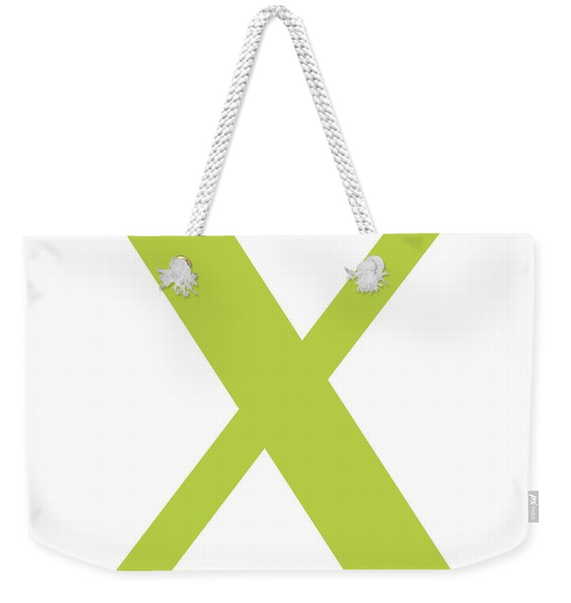 X Weekender Tote Bag featuring the digital art X In Spring Green Typewriter Style by Custom Home Fashions