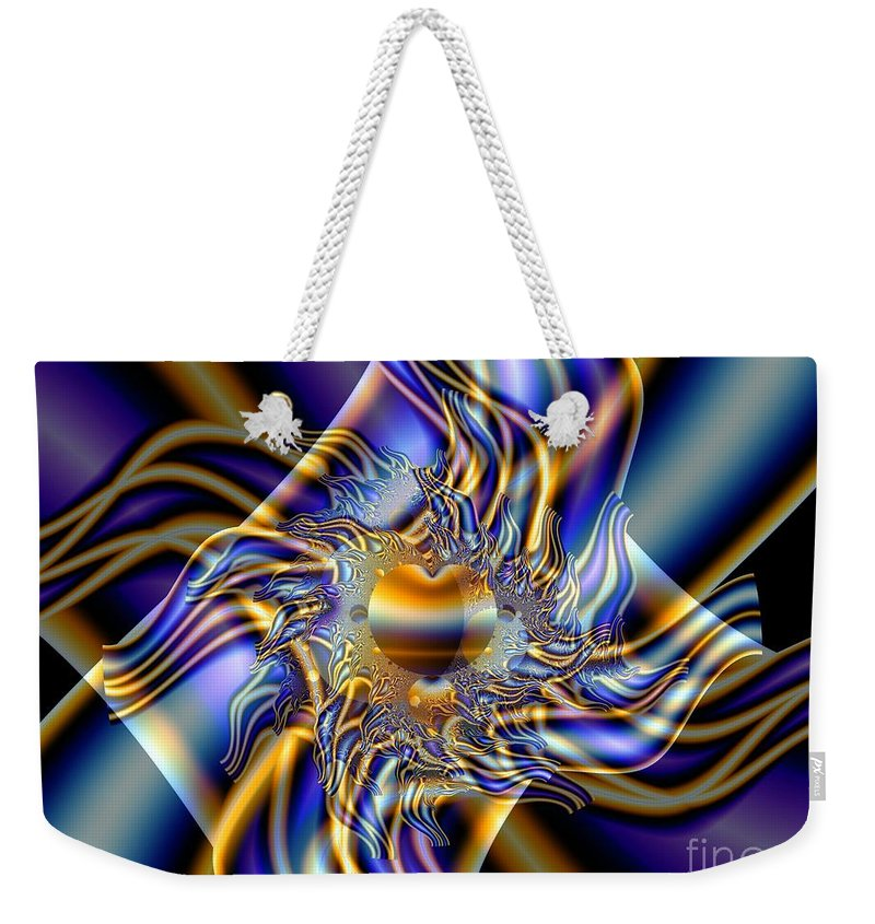 Fractal Art Weekender Tote Bag featuring the digital art X by Ron Bissett