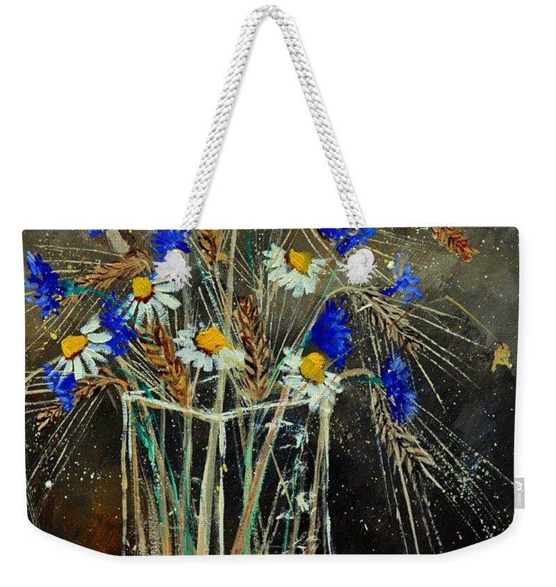 Flowers Weekender Tote Bag featuring the painting Xav's Bunch by Pol Ledent